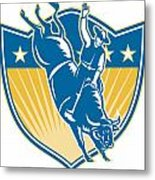 Rodeo Cowboy Riding Bucking Bull Stars Shield Retro Metal Print by Aloysius Patrimonio