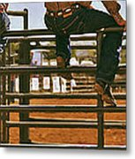 Rodeo Fence Sitters- Warm Toned Metal Print