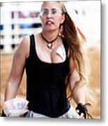 Rodeo Saloon Girl Dancing Metal Print