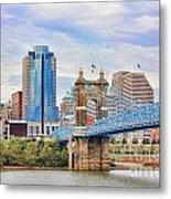 Roebling Bridge And Downtown Cincinnati 9850 Metal Print