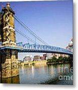 Roebling Bridge In Cincinnati Ohio Metal Print