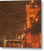 Roebling Bridge Stone N Wood Metal Print