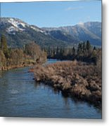 Rogue River And Mt Baldy In Winter Metal Print