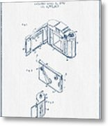 Roll Film Camera Patent From 1952- Blue Ink Metal Print