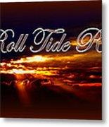 Roll Tide Roll W Red Border - Alabama Metal Print