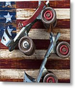 Rollar Skates With Wooden Flag Metal Print