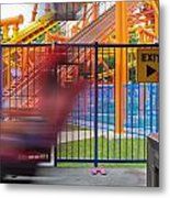 Rollercoasters At Amusement Park Metal Print