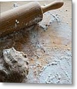 Rolling Pin With Dough And Flour Metal Print