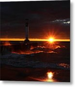 Rolling Waves In The Sunset  Metal Print