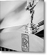 Rolls-royce Hood Ornament -782bw Metal Print
