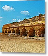 Roman Aqueduct From Mount Carmel 12 Km Away To Mediterranean Shore In Caesarea-israel  Metal Print