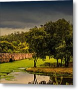 Roman Bridge By The Lake Metal Print