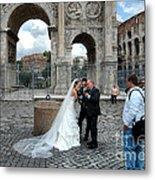 Roman Colosseum Bride And Groom Metal Print
