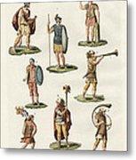 Roman Foot Soldiers Metal Print by Splendid Art Prints