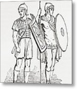 Roman Infantry Soldiers, After Figures On Trajans Column.  From The Imperial Bible Dictionary Metal Print