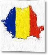 Romania Painted Flag Map Metal Print