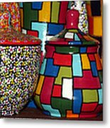Romanian Colourful Pottery Metal Print