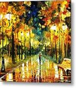 Romantic Lights - Palette Knife Oil Painting On Canvas By Leonid Afremov Metal Print