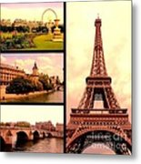 Romantic Paris Sunset Collage Metal Print