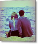 Romantic Seaside Moment Metal Print