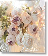 Romantic Shabby Chic Dreamy Pink And White Peonies - Shabby Chic Peonies In Basket Metal Print