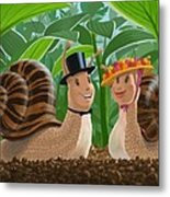 Romantic Snails On A Date Metal Print