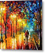 Romantic Stroll - Palette Knlfe Oil Painting On Canvas By Leonid Afremov Metal Print