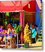 Romantic Terrace Dinner Date Piazzetta Bistro Rue St Denis French Cafe Street Scene Carole Spandau  Metal Print