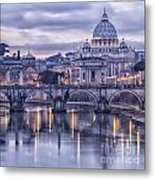 Rome And The River Tiber At Dusk Metal Print