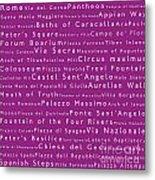 Rome In Words Pink Metal Print