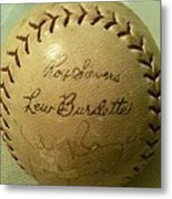 Ron Sievers And Lew Burdette Autograph Baseball Metal Print