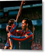 Ronaldinho And Eto'o Metal Print