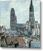 Roofs Of Old Rouen Grey Weather  Metal Print