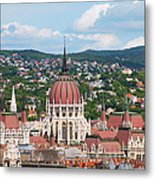 Rooftop Of Parliament Building In Budapest Metal Print