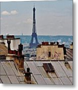 Rooftops Of Paris And Eiffel Tower Metal Print