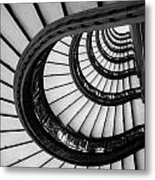 Rookery Building Looking Up The Oriel Staircase - Black And White Metal Print