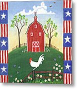 Rooster Americana Metal Print