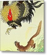 Rooster And Weasel Metal Print