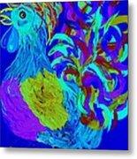Rooster Blues Metal Print