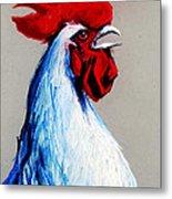 Rooster Head Metal Print