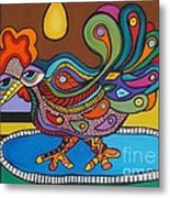 Rooster On A Platter Metal Print by Deborah Glasgow