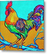 Rooster Perch Metal Print