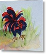 Rooster - Red And Black Rooster Metal Print