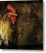 Rooster With Brush Calligraphy Loyalty Metal Print