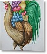 Rooster's Fruit To Go Metal Print