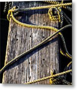 Rope And Wood Sidelight Textures Metal Print