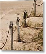 Rope And Wooden Fence Metal Print
