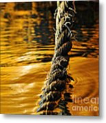 Rope On Liquid Gold Metal Print