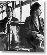 Rosa Parks On Bus Metal Print