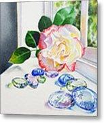 Rose And Glass Rocks Metal Print